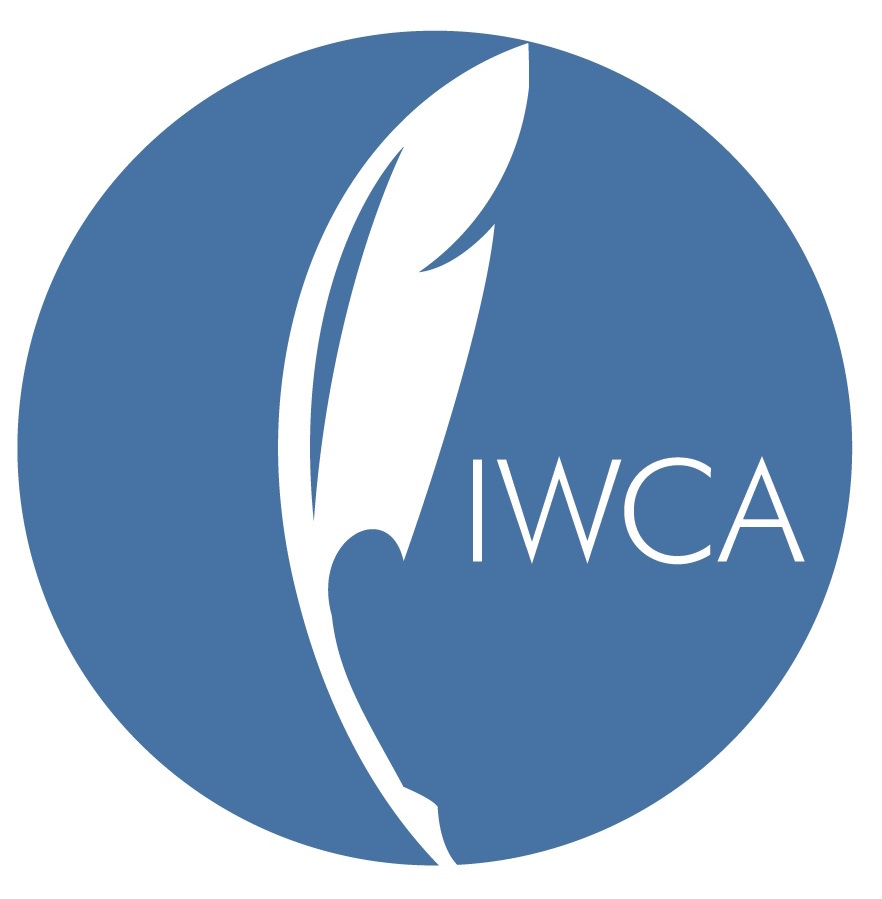IWCA Logo, a white quill centered on a blue circular background with the letters IWCA next to it